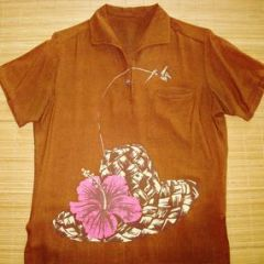 Hawaii Thatched Lauhala Hat Pullover Shirt
