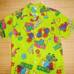 Made in Hawaii Bark Cloth Cartoon Hawaiian Shirt