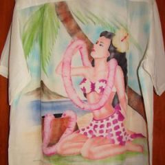 Kawaihau Full Panel Hula Girl Rayon Shirt