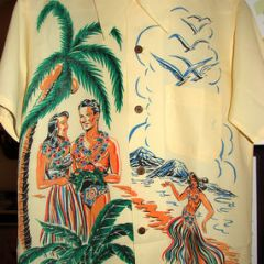 Campus Very Rare Hula Girls Rayon Shirt