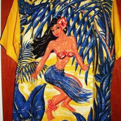 Art Vogue Rare Hula Girl Back Panel Shirt