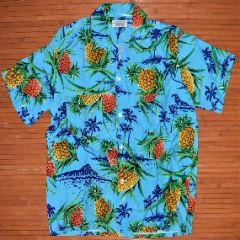 Penny's Pineapple Palm Tree Island Rayon Shirt