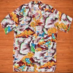 National Lava Sailboat Butterflies Rayon Shirt