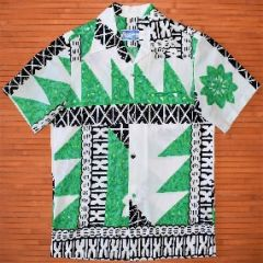 Waltah Clarke's Tribal Green Flower Power Hawaiian Shirt