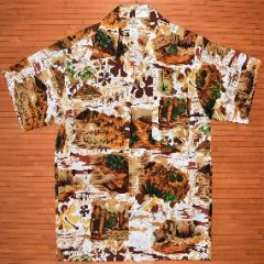 Vintage Hukilau Fashions Hibiscus Palm Trees Beach Shirt