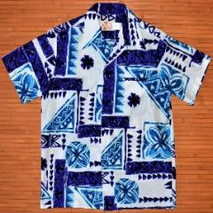 Sears Blue Elvis Geometric Shape Aloha Shirt