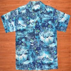 Duke Kahanamoku Blue Elvis Flowers Aloha Surf Shirt
