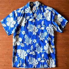 Garments Pineapple Hibiscus Blue Elvis Shirt