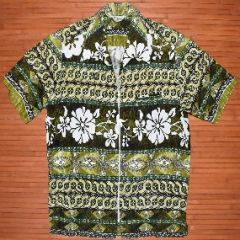 Lauhala Vintage Green Flower Power Zipper Shirt