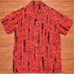 Vintage Red Tribal Tiki Paddle Aloha Shirt
