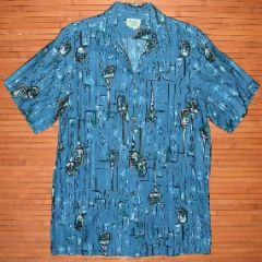 Vintage Hawaiiana Blue Elvis Polynesian Kahili Paddles Shirt
