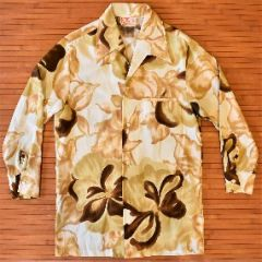 Sears Vintage Flower Power Long Sleeve Hawaiian Disco Shirt