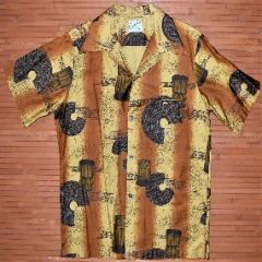 Casual Aire Crackle Drums Capes Vintage Aloha Shirt