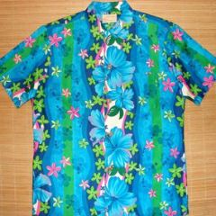 Royal Hawaiian Blue Hawaii Plumeria Floral Shirt