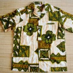 Sears Hawaii Bark Cloth Mod Tropical Tapa Shirt