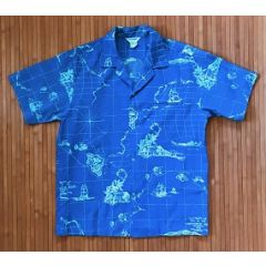 Made in Hawaii Map of the Sandwich Isles Vintage Aloha Shirt