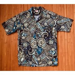 Barefoot in Paradise Abstract Blue Hawaiian Shirt