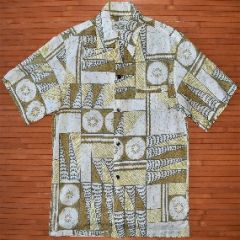 Malihini Tribal Crackle Seashells Vintage Hawaiian Shirt