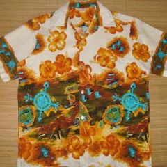 Sears Hawaii Adventure Planes Fish Shirt