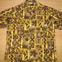 Hawaii Tiki Pineapple Kahili Cruise Aloha Shirt
