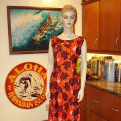 Hawaiian Surf Mod Floral Tapa Dress