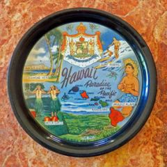 Antique Hawaiian Souvenier Serving Tray Plate