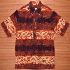 Iolani Red Eye Tribal Hawaiian Pull Over Shirt