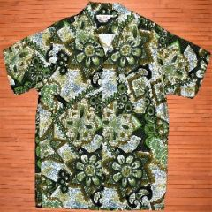 Alohawaii Green Machine Spiked Flower Vintage Aloha Shirt