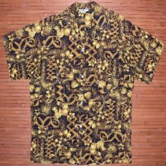 Vintage Made in Hawaii Golden Hibiscus Aloha Shirt