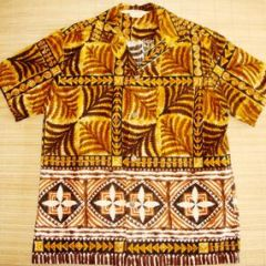 290a5e0a 60's. Royal Hawaiian Bark Cloth Tiki Tapa Shirt